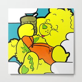 High In The Clouds - bear pop art painting Metal Print