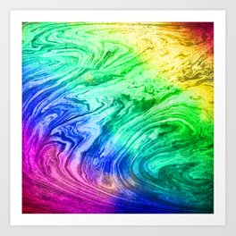 bright rainbow marbleized effect marble painting Art Print