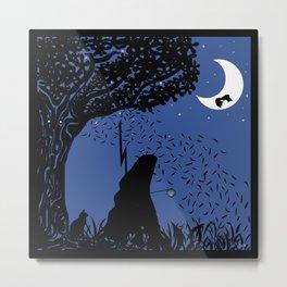 A Halloween night under the moon  Metal Print