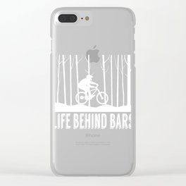 """Nature Biking Tee For Bikers With Unique Awesome Style """"Life Behind Bars"""" T-shirt Upside Down  Clear iPhone Case"""