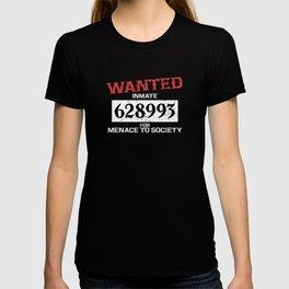 Wanted Criminal Inmate Menace to Society Prisoner Costume Supplies Decoration Unisex Shirt T-shirt