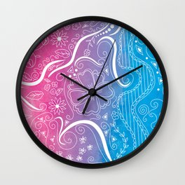 Pink & Blue Swirly Floral Dream Wall Clock