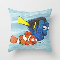 finding nemo Throw Pillows featuring Finding Nemo by Larissa