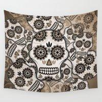 sugar skulls Wall Tapestries featuring Sugar skulls by nicky2342