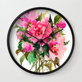 Peony Flowers, pink floral design Wall Clock