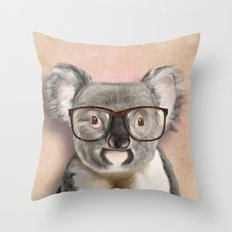 Funny koala with glasses Throw Pillow