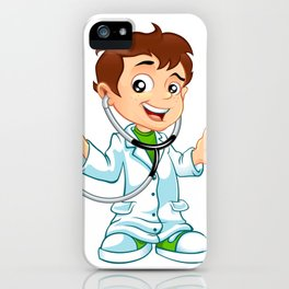 Cute little male doctor smiling iPhone Case