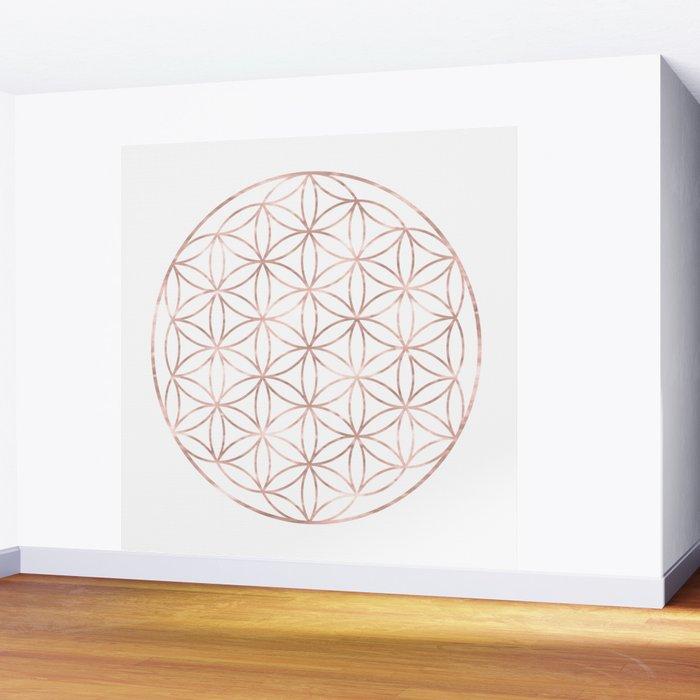 Mandala Rose Gold Flower of Life Wall Mural