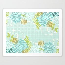Bold Graphic Mod Mum Modern Chrysanthemum Floral Flower Aqua Blue Art Print