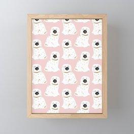 Staffordshire Dog Figurines No. 1 in Blush Pink Framed Mini Art Print