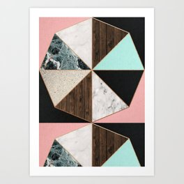 Rose Gold Hexagon Pattern Art Print