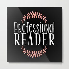 Professional Reader - Black w Pink Metal Print