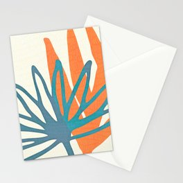 Mid Century Nature Print / Teal and Orange Stationery Cards