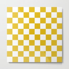 Mustard Yellow Checkers Pattern Metal Print