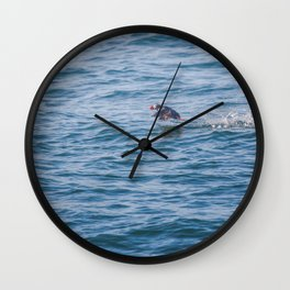 Cute Puffin takes off from the water Wall Clock