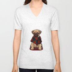 The Plaid Poncho'ed Pug Unisex V-Neck