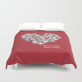 Just Love. (white text) Duvet Cover