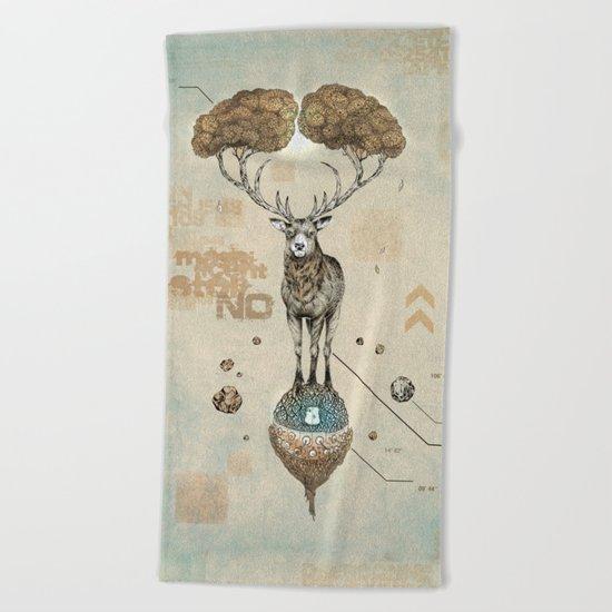 Asteroid Brain Diagnostics // (metaphysical deer) Beach Towel