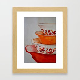 Friendship and Americana Vintage Orange Pyrex Framed Art Print