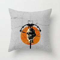 the walking dead Throw Pillows featuring Dead Walking by Green'n'Black