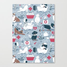 Veterinary medicine, happy and healthy friends // pastel blue background Canvas Print