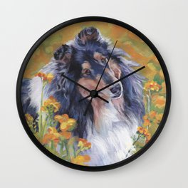 Rough Collie dog art portrait from an original painting by L.A.Shepard Wall Clock