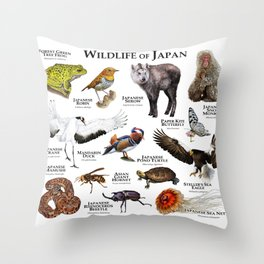 Wildlife of Japan Throw Pillow