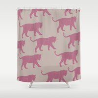 tigers Shower Curtains featuring Pink Tigers by ANIMALS + BLACK