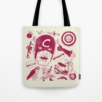 superheros Tote Bags featuring Craptain America by Josh Ln
