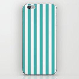 Narrow Vertical Stripes - White and Verdigris iPhone Skin