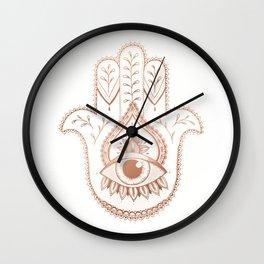 Hamsa Hand - Rosé Gold Wall Clock