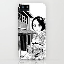 Kimono girl (manga style drawing) iPhone Case