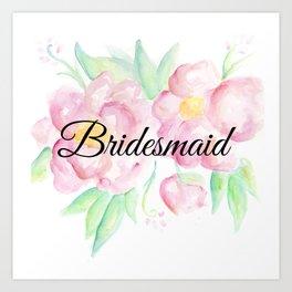 Pink Floral Watercolor Bridesmaid Gift Art Print