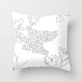 Flora of Fun - Color or Paint Your Own! Throw Pillow