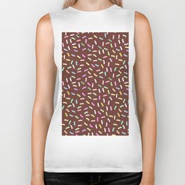 chocolate Glaze with sprinkles. Brown abstract background Biker Tank