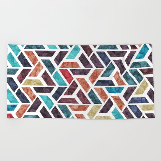 Seamless Colorful Geometric Pattern XVI Beach Towel