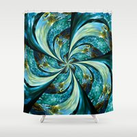 novelty Shower Curtains featuring Water Wheel by Moody Muse