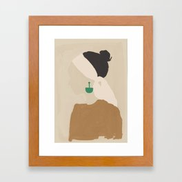 Minimalist Woman with Green Earring Framed Art Print