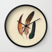 feathers Wall Clocks featuring Three Feathers  by Terry Fan