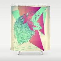 selena gomez Shower Curtains featuring Loco by Edgar Gomez UniverZ7