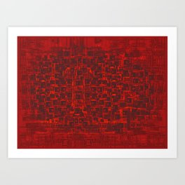 Adventure Black on Red Art Print