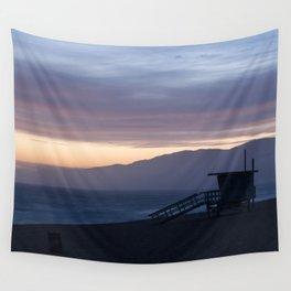 Lifeguard House Sunset - Ocean Sunset, Seascape, Landscape, Scenery, Beautiful Light Lavender Wall Tapestry