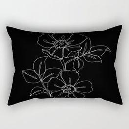 Botanical illustration one line drawing - Rose Black Rectangular Pillow