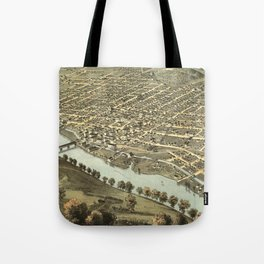 Vintage Pictorial Map of Lafayette Indiana (1868) Tote Bag