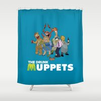 muppets Shower Curtains featuring Drunk Muppets by Jared Gase