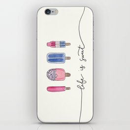Life is Sweet Hand Lettered Watercolor Popsicle Illustration iPhone Skin