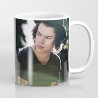 harry styles Mugs featuring Harry Styles  by Becca / But-Like-How
