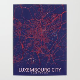 Luxembourg City, Luxembourg, Blue, White, City, Map Poster