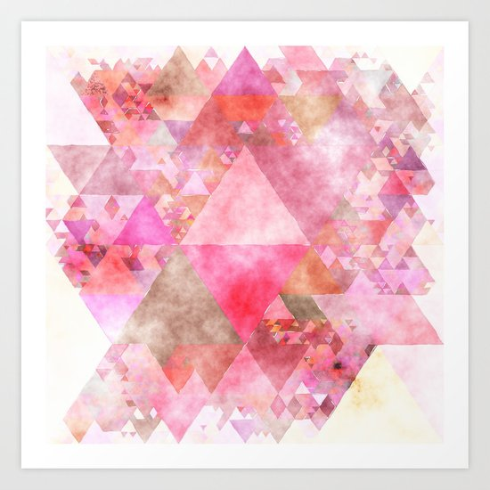 Pink triangles - Abstract elegant watercolor pattern Art Print