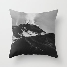 Etna Volcano. Sicily, Italy. Black and White Fine Art Travel Print. Wall Art. Throw Pillow